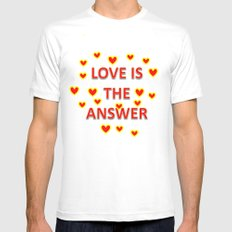Love is the Answer White Mens Fitted Tee MEDIUM