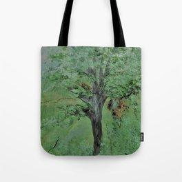 Palette Knife Tree on Wood Tote Bag