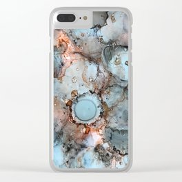 Shadow Grey Abstract Painting Clear iPhone Case