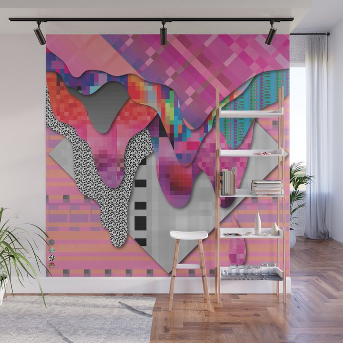 drippy pink Wall Mural