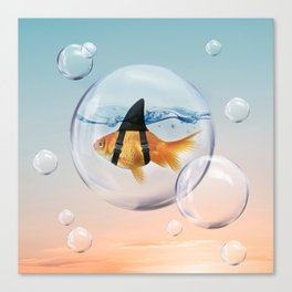 Shark Fin Goldfish in a Bubble Canvas Print