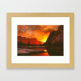 Classical Masterpiece 'Sunset in the Yosemite Valley' by Albert Bierstadt Framed Art Print