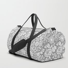 "William Morris Floral Pattern | ""Pink and Rose"" in Grey and White Duffle Bag"