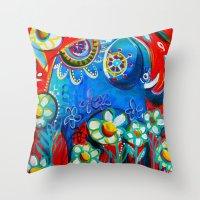 ellie goulding Throw Pillows featuring Ellie by Anna Bartlett