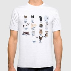 14 Dogs & Kitties Ash Grey SMALL Mens Fitted Tee