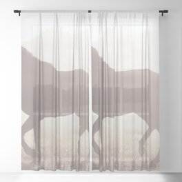 Horses head for the corral in the daily roundup of horses Riverside Wyoming Sheer Curtain