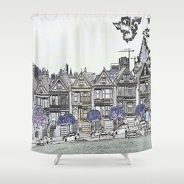 Painted Ladies Digital Drawing Shower Curtain