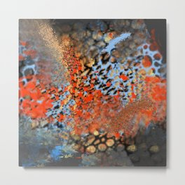 Blue, Orange, Black, Explosion Abstract Metal Print