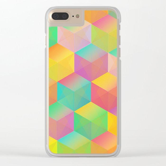 Rainbow Cubes (Vibrant Transparent Hexagon) Clear iPhone Case
