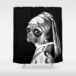 Pug with a pearl earring Shower Curtain