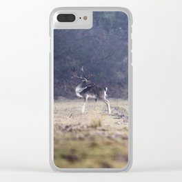 Fallow deer at misty lake. Clear iPhone Case