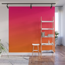 Bright Pink and Orange Ombre Wall Mural