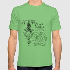 Alice In Wonderland Jabberwocky Poem Mens Fitted Tee MEDIUM Grass