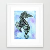 tatoo Framed Art Prints featuring Tatoo Seahorse by PepperDsArt