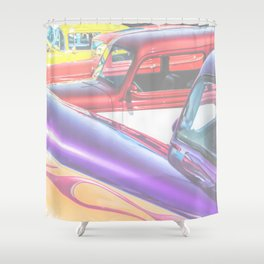 Candy Color Hot Rods, Tasty Automotive Art by Murray Bolesta Shower Curtain
