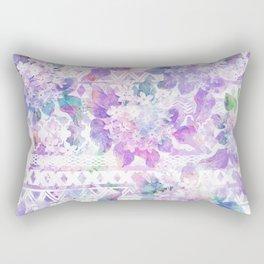 Lavender lilac pink white watercolor aztec floral Rectangular Pillow
