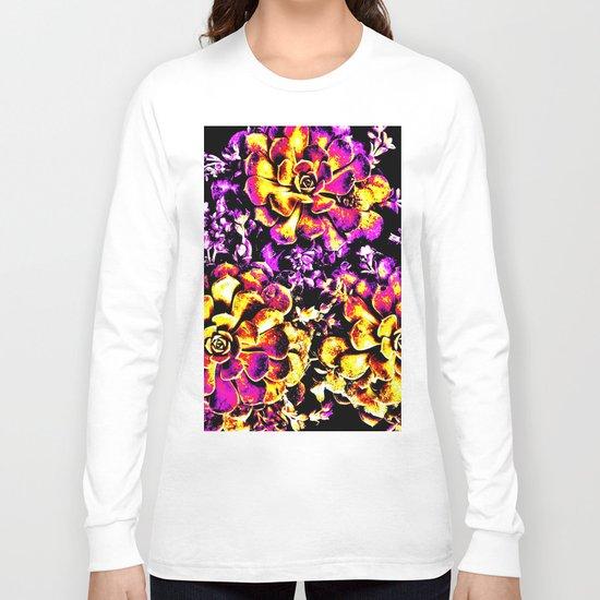 Purple Yellow Flower Plant, Pop Art Long Sleeve T-shirt