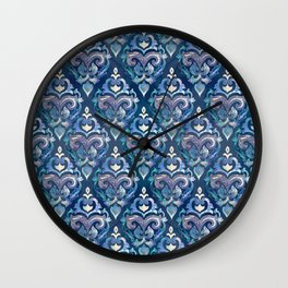 Persian Floral pattern blue and silver Wall Clock