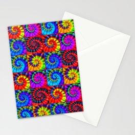 Spiral Tie Dye Checkerboard Stationery Cards