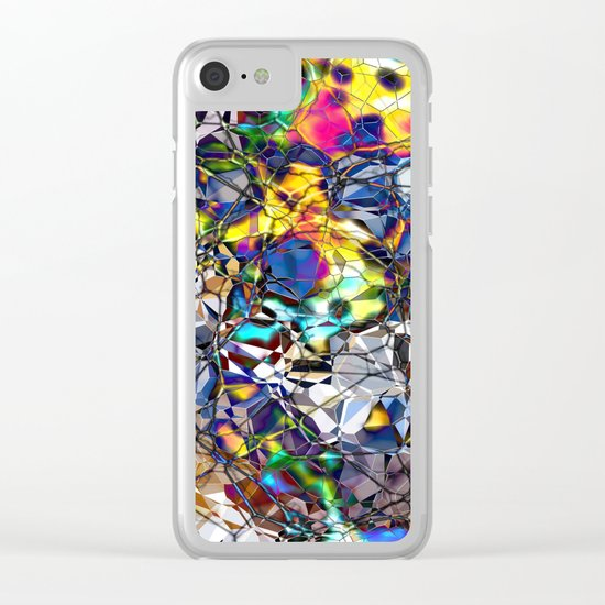 Colorful Web of Geometry Clear iPhone Case