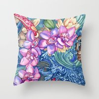 orchid Throw Pillows featuring Orchid Splash by Vikki Salmela
