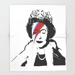 Queen Elizabeth As Ziggy, Banksy, Streetart Street Art, Stardust Grafitti, Artwork, Design For Men, Throw Blanket