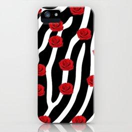 Roses on a field of zebra skin. iPhone Case