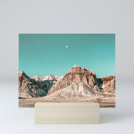 Vintage Red Rocks Moon // Mountain Range Snowcaps in Winter Desert Landscape Photograph Luna Sky Mini Art Print