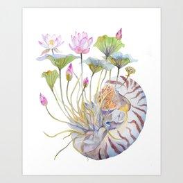 Nautilus and Lotus Surreal Watercolor Creature Art Print