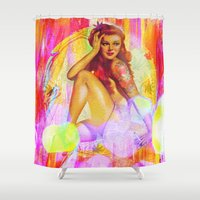 "tatoo Shower Curtains featuring "" Miss tatoo ""  by shiva camille"