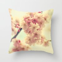 cherry blossoms Throw Pillows featuring cherry blossoms by Sylvia Cook Photography
