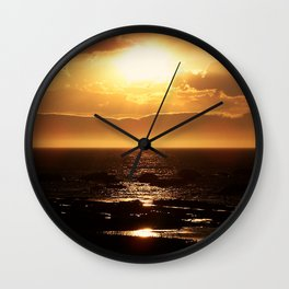 Silver lining on Clouds at Sunset Wall Clock