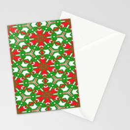 Red, Green and White Kaleidoscope 3373 Stationery Cards