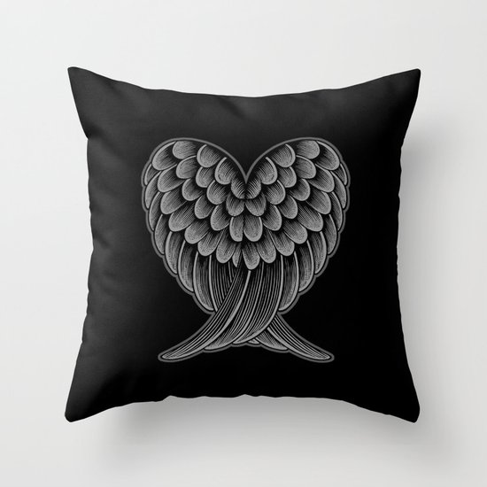 Heart Wings [Reversed Version] Throw Pillow