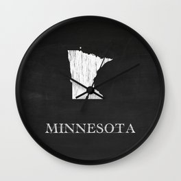 Minnesota State Map Chalk Drawing Wall Clock