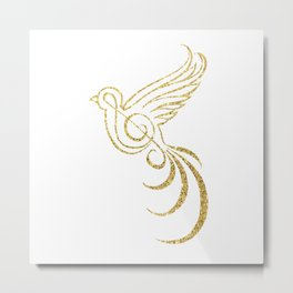 Golden Songbird Metal Print