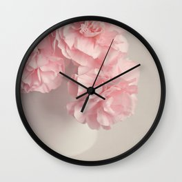 Frilly pink Carnations flowers. Wall Clock