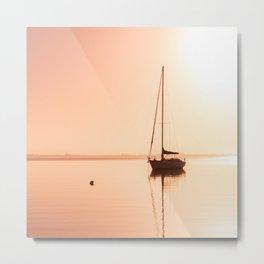 'Red Sky at Morning', Boat Silhouette, Lake Macquarie Metal Print