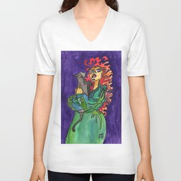 Cat and Her Witch Unisex V-Neck
