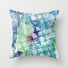 Blue green squared ghost Throw Pillow