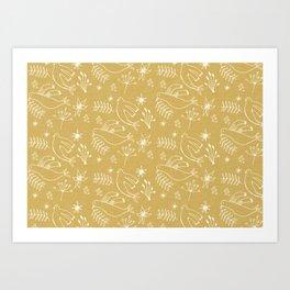 Christmas Dove Beige Art Print