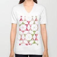 quilt V-neck T-shirts featuring Flora Quilt by Michaela Palmer
