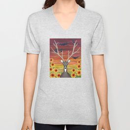 white tailed deer, bats, black eyed susans Unisex V-Neck