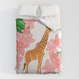 Tropical Giraffe-Pink & Green Comforters