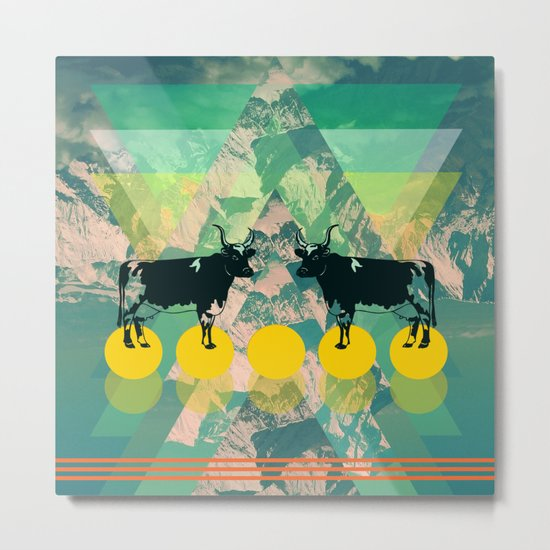cows are dreaming of funky mountains Metal Print
