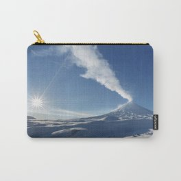 Eruption Klyuchevskoy Volcano - winter view of active volcano in Kamchatka Peninsula Carry-All Pouch