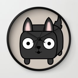 German Shepherd Loaf in Black Wall Clock