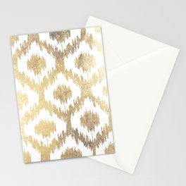 Modern white hand drawn ikat pattern faux gold  Stationery Cards
