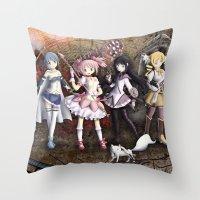 madoka Throw Pillows featuring Madoka by drawn4fans