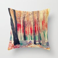 takmaj Throw Pillows featuring Woods by takmaj